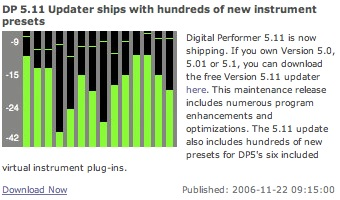 DP 5.11 Updater ships with hundreds of new instrument presets