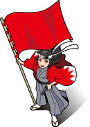 旗を持つ女性