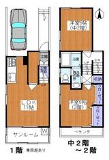 経堂2LDKペット可テラスハウス1-C間取