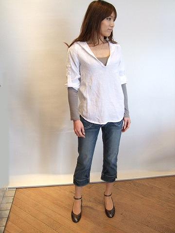 麻フードシャツ