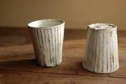 灰釉粉引 しのぎ太 ビアカップ1