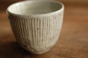 灰釉粉引 しのぎ湯呑2