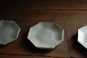 灰釉粉引 8角小皿1