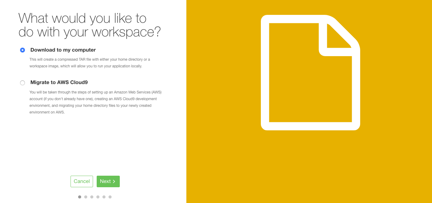 Cloud9のダウンロード画面