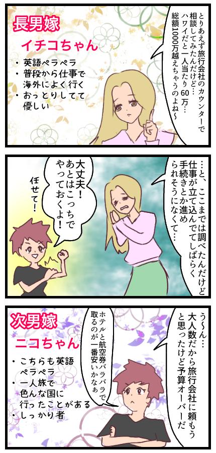 長男嫁イチコちゃん、旅行会社のカウンターで相談したりと動いてくれたが仕事が忙しく、どうしても手続きは進められないとのこと。そこで次男嫁のニコちゃんが色々やってくれることに。イチコちゃんもニコちゃんも海外慣れしている。