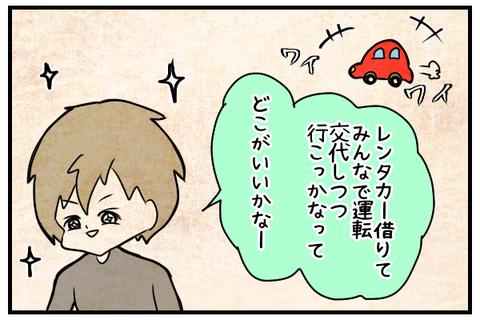 レンタカーを借りて交代で運転しながらの旅行に目を輝かせるレオ。