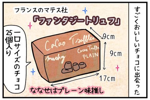 すごくおいしいチョコに出会った。フランスのマテス社「ファンタジートリュフ」9cm×9cm×17cmくらいの箱に25個入り。ななせはプレーン味推し。