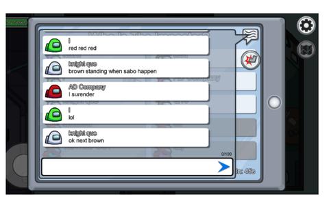 会議中のゲーム画面。英語がいっぱい