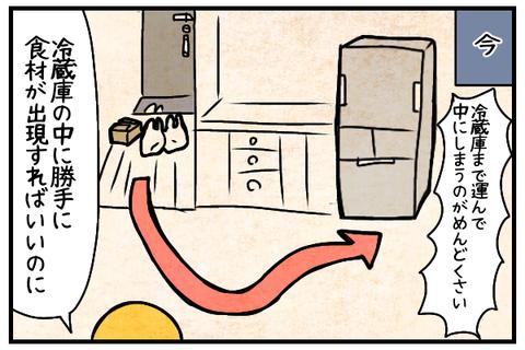 冷蔵庫まて運んで中にしまうのがめんどい。勝手に冷蔵庫に食材が出現すればいいのに。