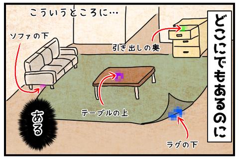 引き出しの奥やラグの下テーブルの上やソファの下などどこにでもある。