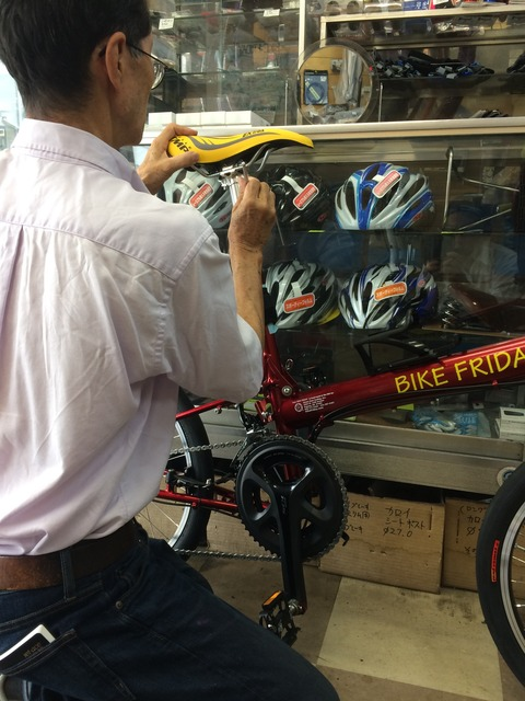bike friday fixing with boss
