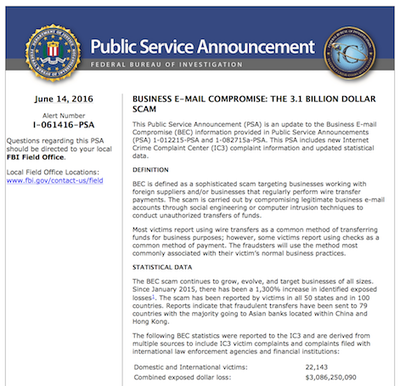 Business E-mail Compromise: The 3.1 Billion Dollar Scam