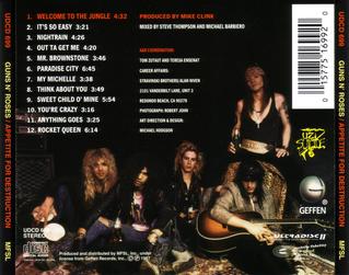 Appetite For Destruction - back cover