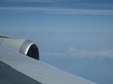 飛行機のなかから富士山が見えました