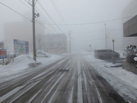朝の帯広は霧&雪でした。