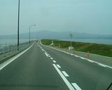 諫早干拓の堤防道路を走ります