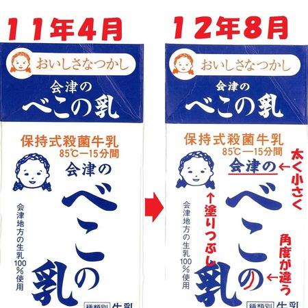 「会津のべこの乳」の変更点