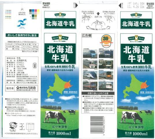 八社会「北海道牛乳」12年11月 : 愛しの牛乳パック