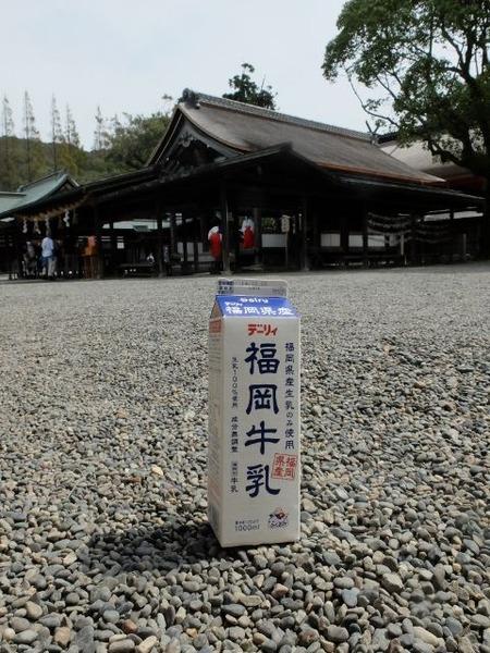 宗像大社で福岡牛乳を撮ってみた。