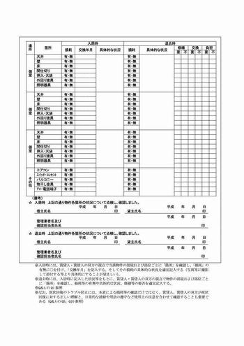 入退去時の物件状況及び原状回復確認リスト (2)