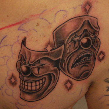 Tattoo double face tattoo pictures to pin on pinterest for Two faced tattoo