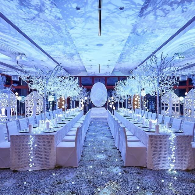 純白のツリー、白い花模様の足元、白銀の天井