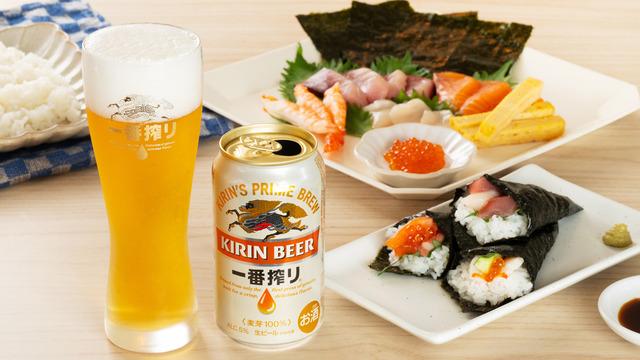 キリン一番搾りと手巻き寿司