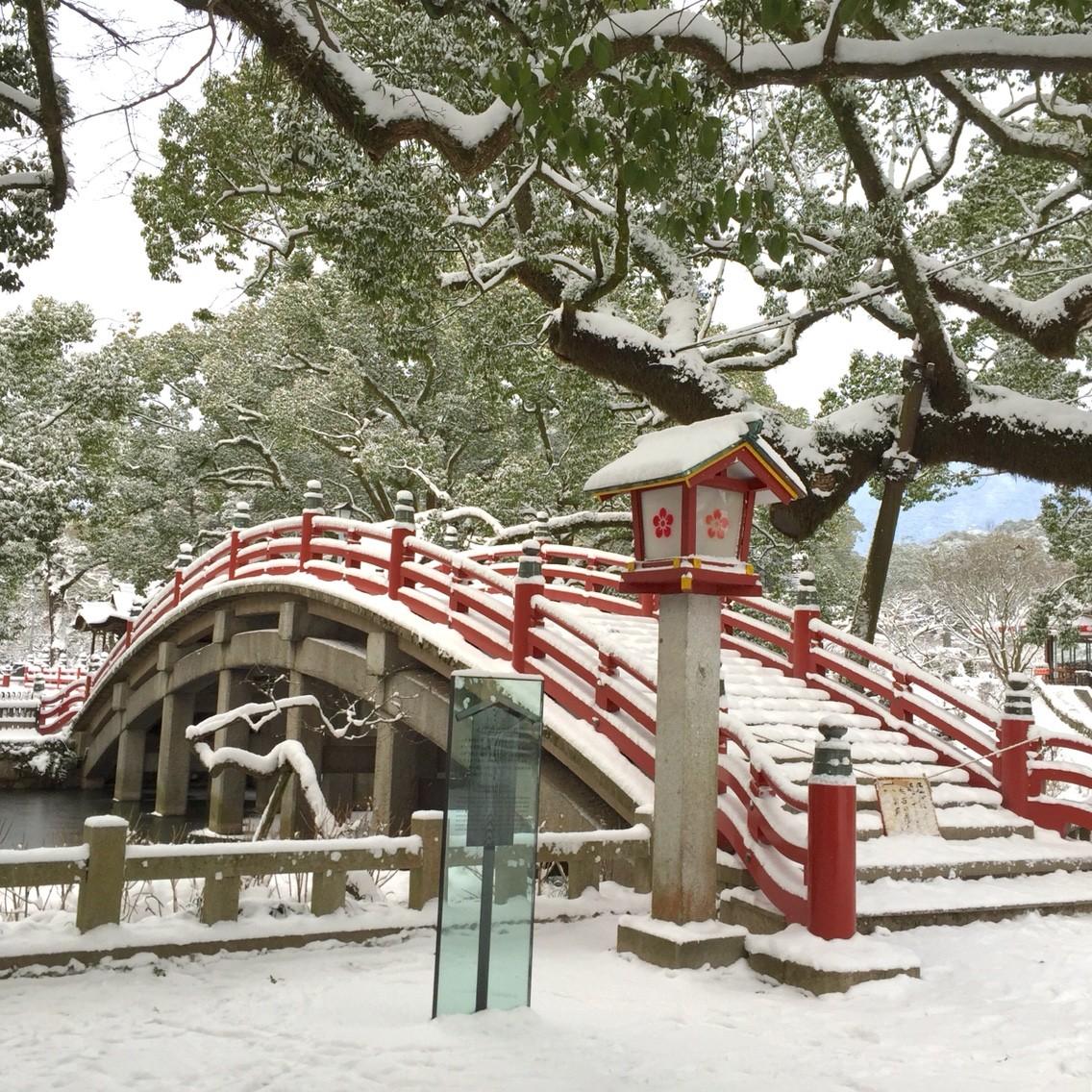 太宰府に記録的な雪。太宰府天満...