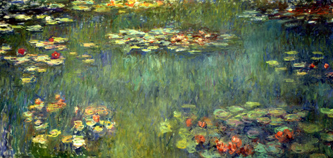 ㈷睡蓮の池、緑の反映