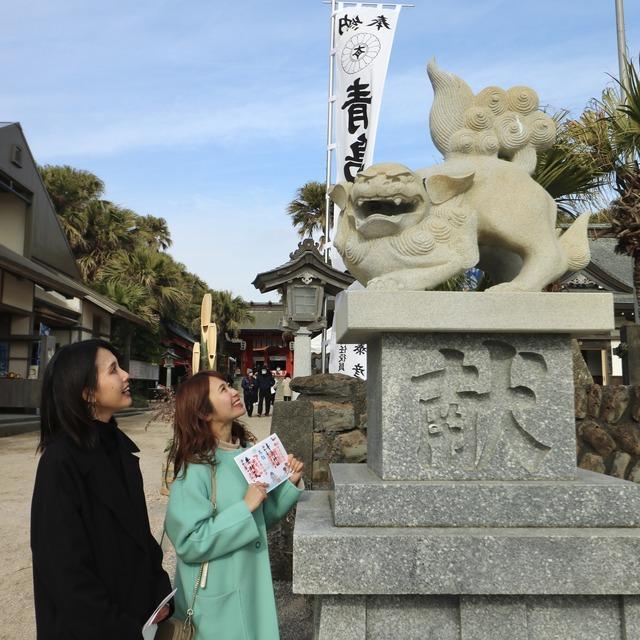 ORC福岡-宮崎便で行く女子旅。青島神社の狛犬。