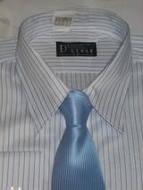 私のネクタイ4 青3 ストライプ白青Yシャツ