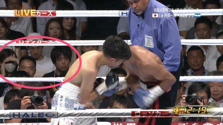NMB木下春奈が不倫相手と堂々とボクシング観戦してるのをTV中継wwwwwwww