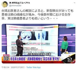 【悲報】台湾の医者さん「新型肺炎は治っても数年で死ぬ。肺ガンよりも死ぬ。」←これ・・・・