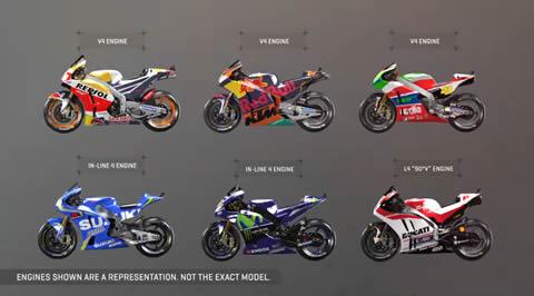 MotoGPマシンのエンジンを美麗CGとアイドル音で比較