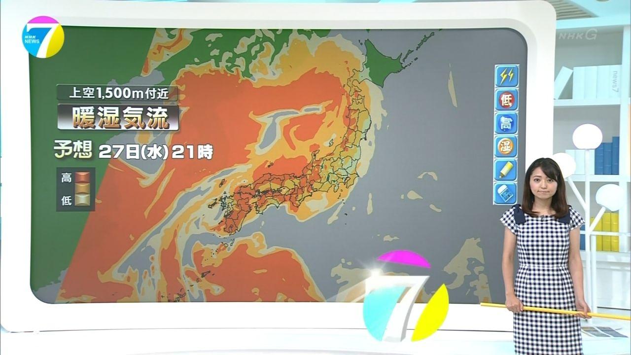 NHKニュース7のパンチラ人妻気象予報士・福岡良子さんが夏らしいワンピースで登場し実況民絶叫