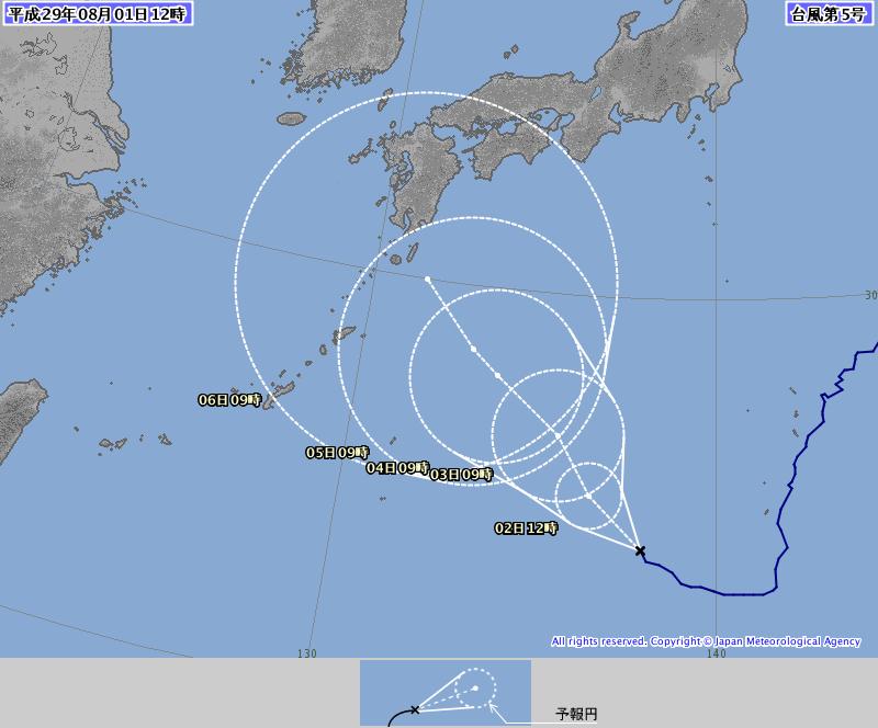 【悲報】台風5号の進路予想、もうむちゃくちゃwwwwww(画像あり)