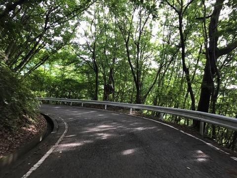 狭くて急な笹子峠を抜ける