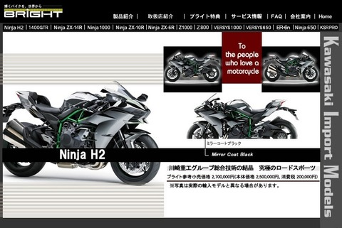 NinjaH2の価格と発売日が確定!