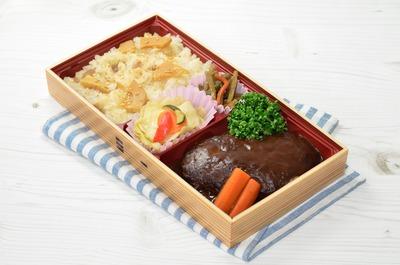 東京_筍ごはんとハンブルグステーキ弁当
