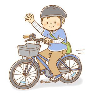 自転車に乗って手を振る男の子のイラスト(ソフト)