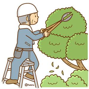 植木の剪定をする男性のイラスト