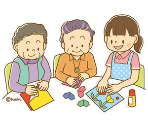 『【クリップアート】シニア・折り紙をする老人とヘルパーさんのイラスト