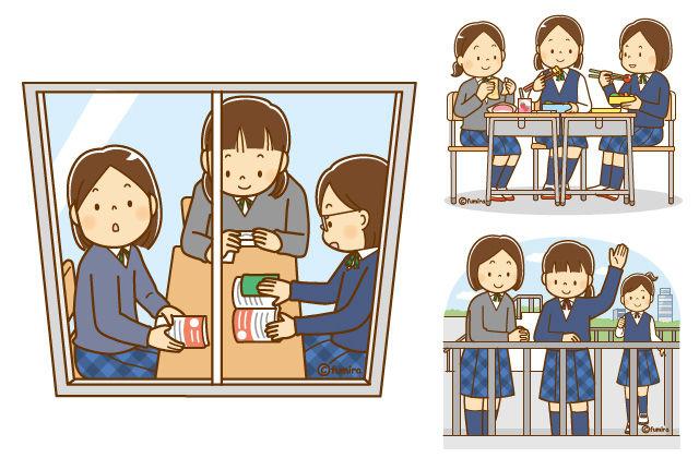 【クリップアート】女子中学生のイラスト(お弁当・自習・屋上)