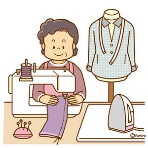 洋服の丈直しをする女性のイラスト
