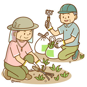 草むしりをする男女のイラスト