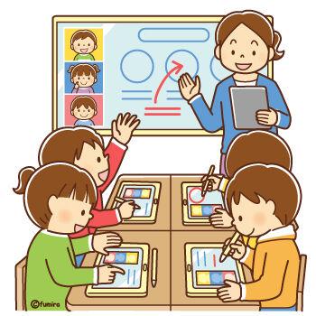 タブレットを使った授業をする先生と子どもたちのイラスト