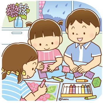 雨の日に室内遊びをする子どもたちのイラスト2