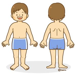 男の子の全身イラスト(前・後 ... : 幼児 ぬりえ : 幼児