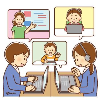 オンラインで学習するこどもたち