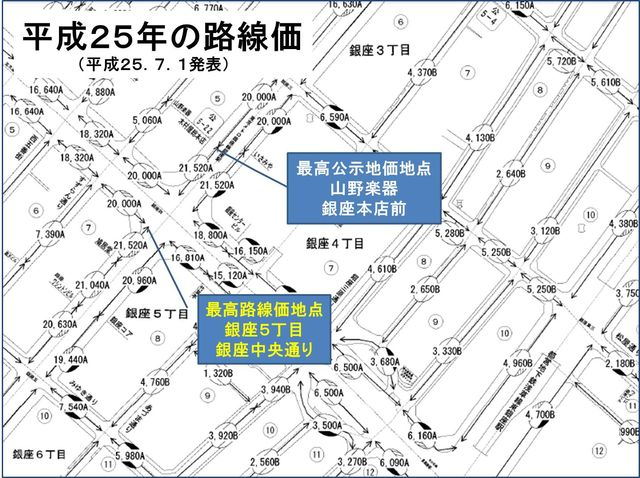 銀座山野楽器本店前 路線価図